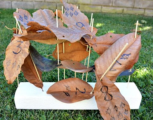 leaves sculptures - math activities for kids