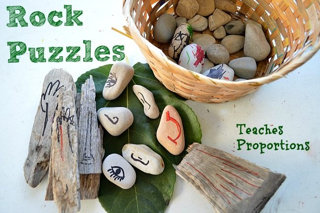 nature play for kids with rocks