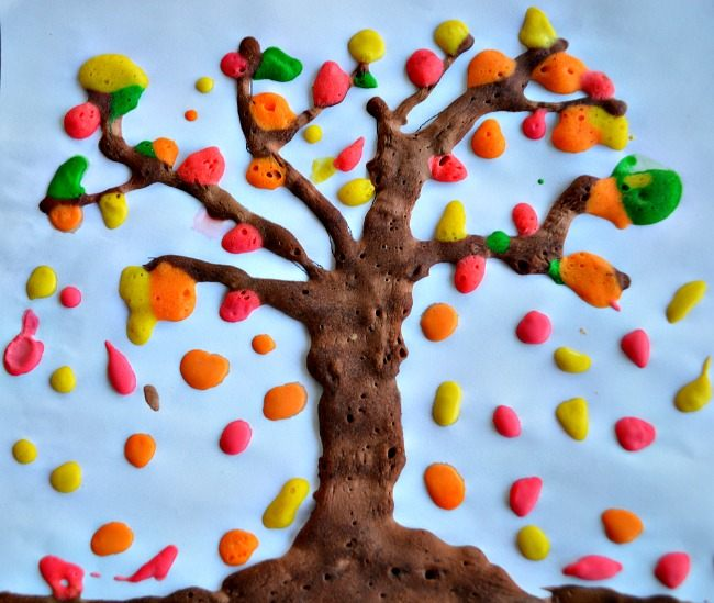 puffy paint fall tree craft and art