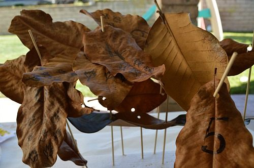 sculptures with leaves