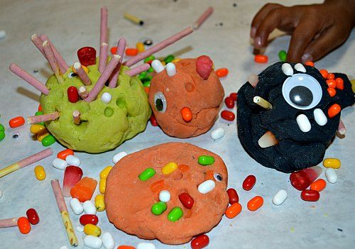 all halloween play dough monsters