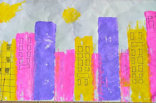 city scene with shapes