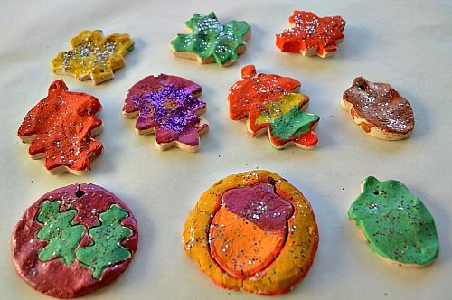 fall leaves made from clay