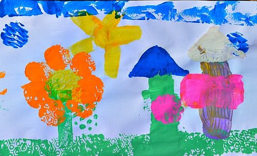 flower scene with shapes