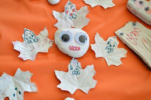 preschooler made painted leaves