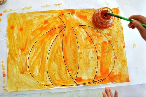 pumpkin art with homemade paint