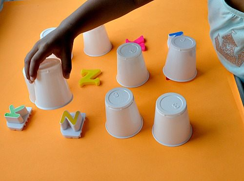 alphabet games for kids with cups