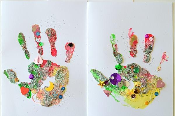hand print christmas cards kids can make