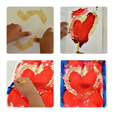 Creating Valentine art with tape resist
