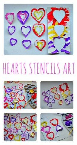 Valentines Day Art Projects with stencils