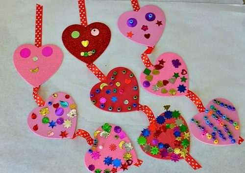Valentines crafts with foam hearts