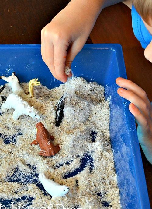 coconut snow sensory play for winter