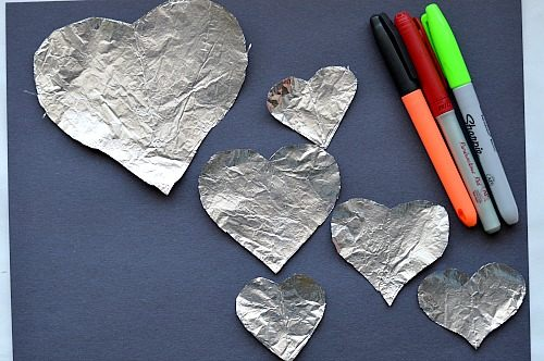 coloring foil hearts for valentine art project