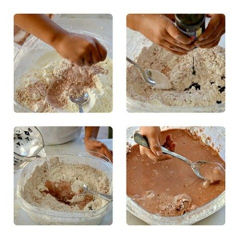 making fake chocolate sensory play