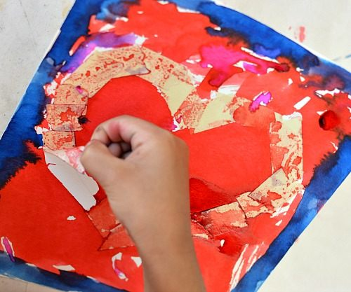 peeling of tape while doing art activities
