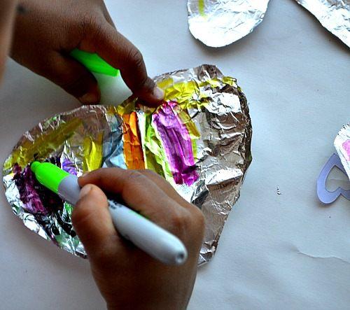 sharpies decorating foil hearts