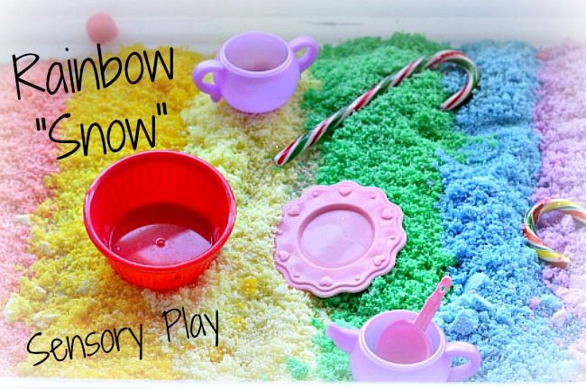 snow activities for kids with rainbow snow