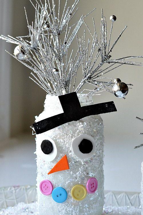 snowman jars with fake snow