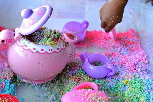 tea party with winter rainbow snow