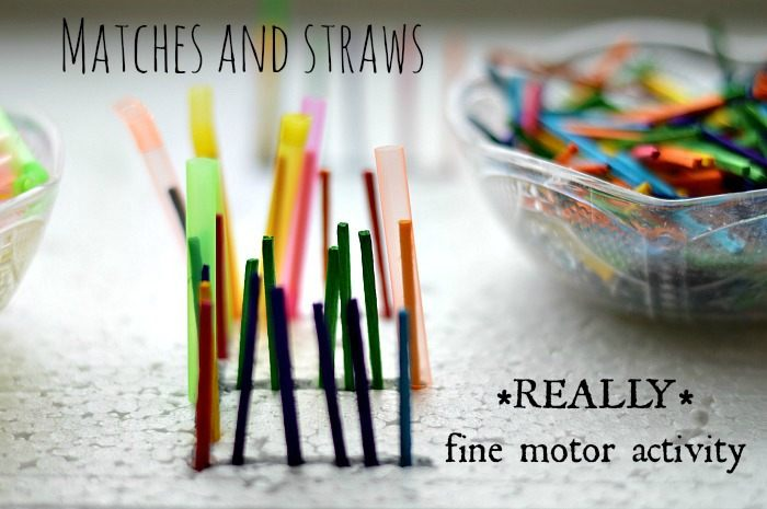 Fine Motor activities with matches and straws