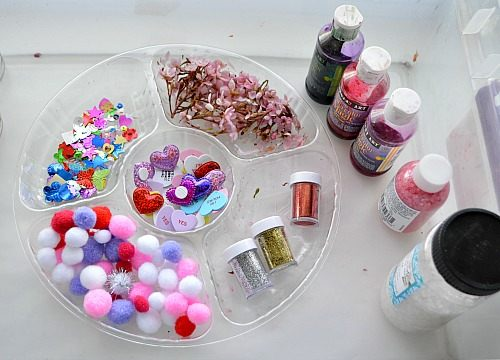 materials for valentines sensory jars