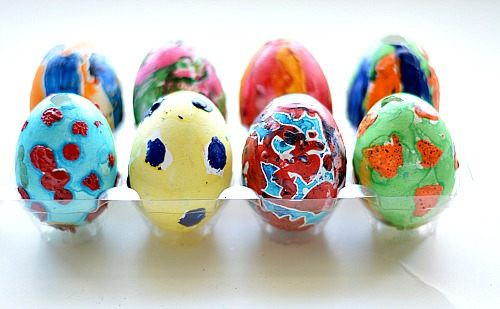 easter art activities with crayon eggs