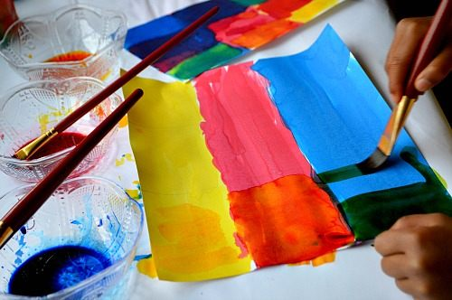 kids art projects color mixing