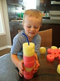building activities with pool noodles