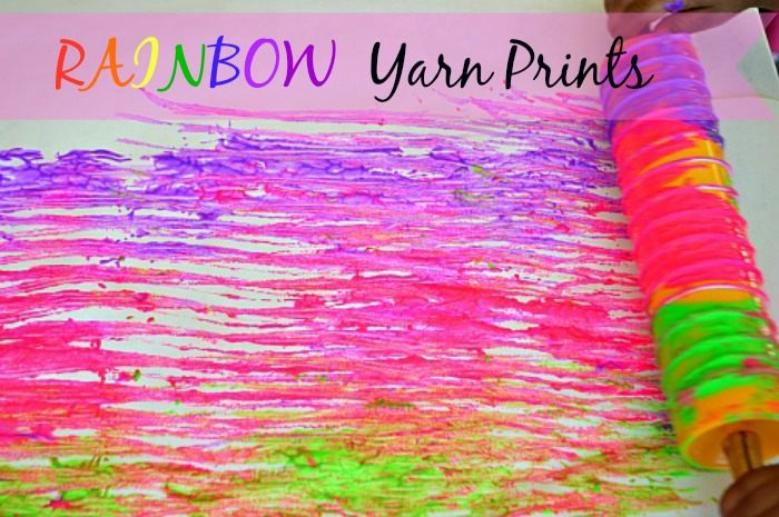 Colorful yarn printing Process art with toddlers
