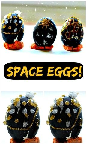 Easter egg decorating activities with kids Making space eggs