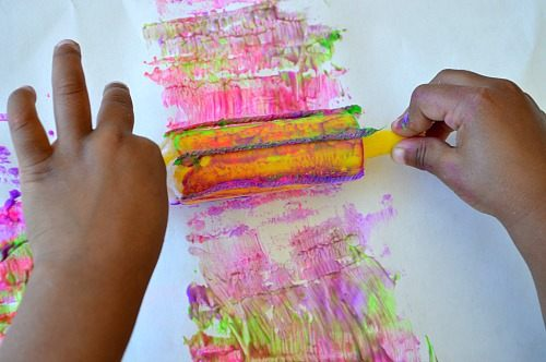art activities for kids with rolling paint dipped yarn