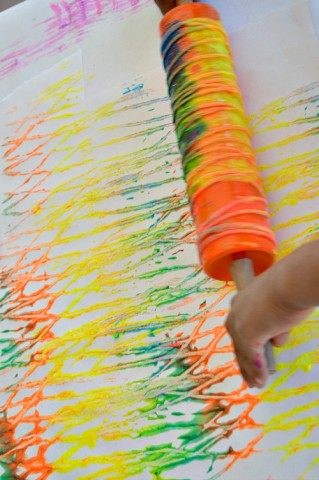 art activities for kids with rolling yarn