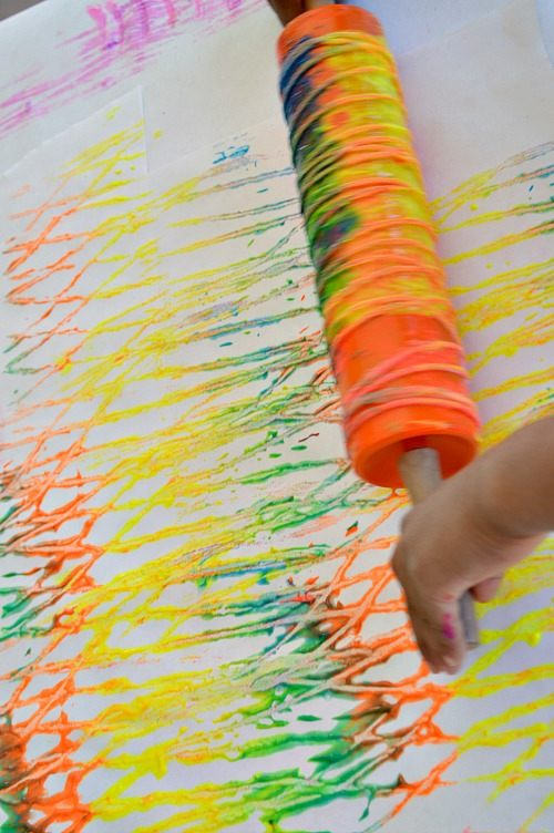 Art Activities For Kids Rolling Pin Yarn Prints Fun Littles