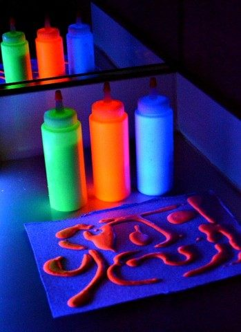 glowing puffy paint bottles