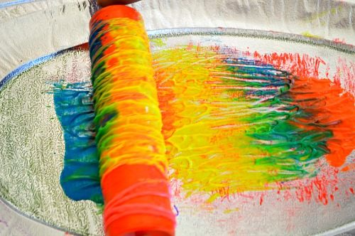 orange colored yarn printing