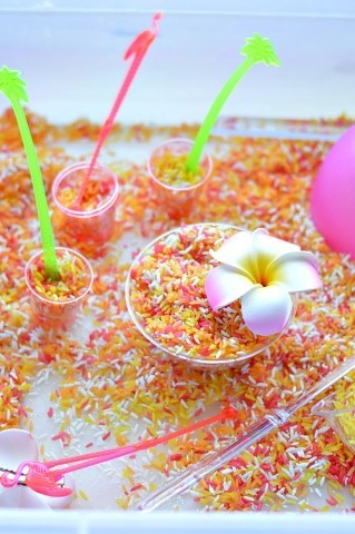 Party in a box sensory play ideas with sensory rice