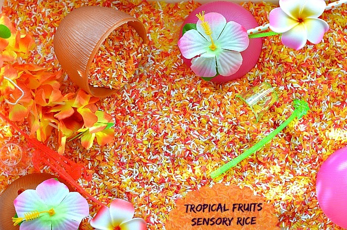 Sensory Activities for kids sensory rice with tropical fruits scents