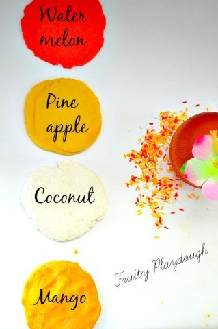 Summer Fruits scented recipe for soft playdough