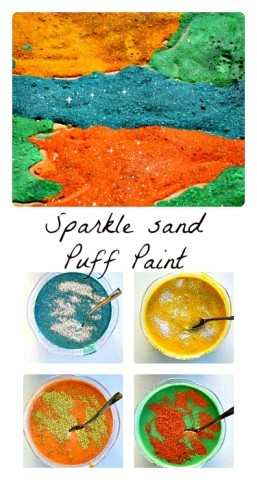 Sparkle  Sand Puffy Paint Recipe from Blog Me MOm
