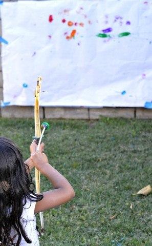 art with kids using archery