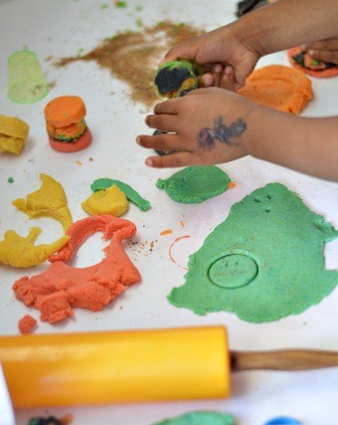 kids playing with sand  dough