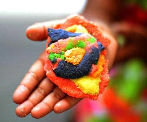 multi colored sand dough