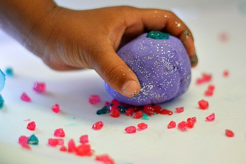 picking up the crystals with playdough