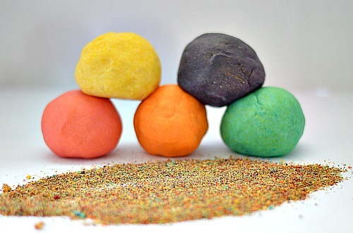 sand dough with edible ingredients