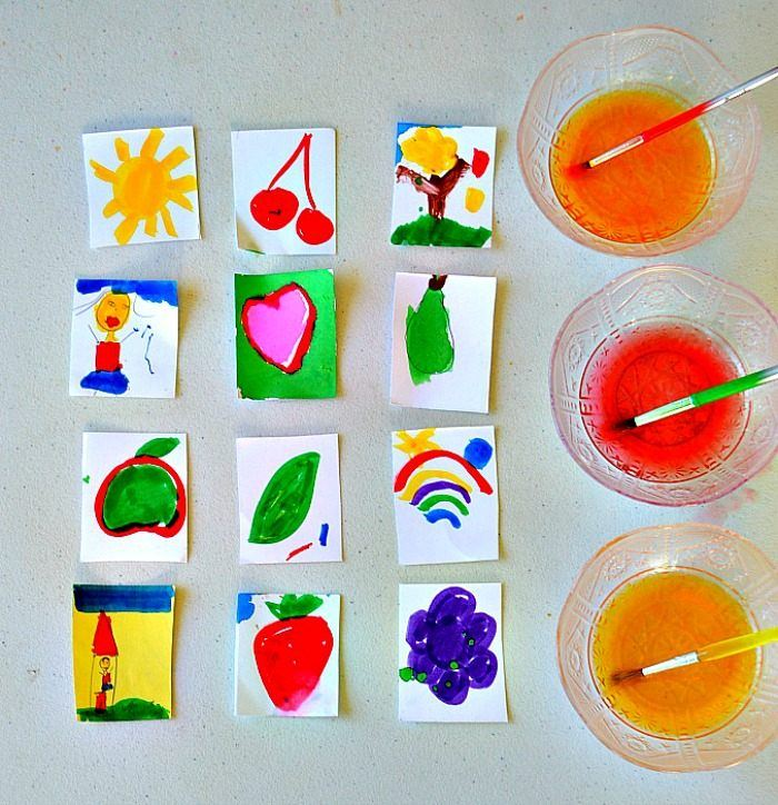 Art Activities for kids making homemade stickers with their own art