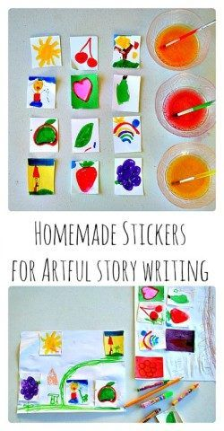 Story writing with stickers Homemade Lick and Stick stickers