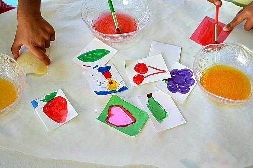 creating homemade stickers by painting