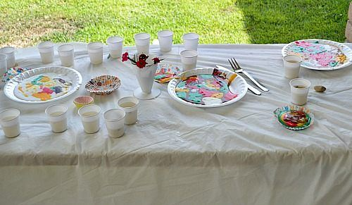 table set up for slime play