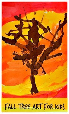 Simple art project for creating a vibrant fall tree art