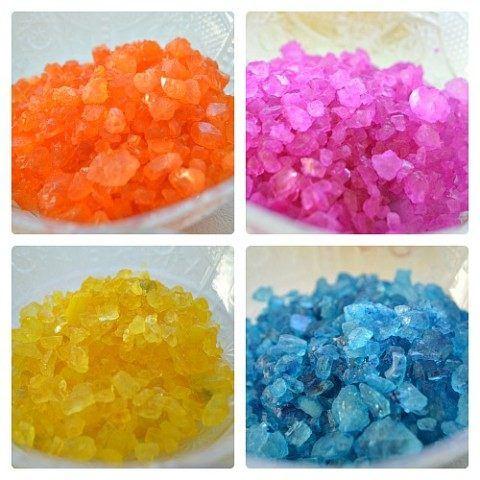 colored rock salt sensory play